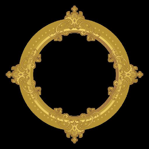 Moldura dourada redonda.