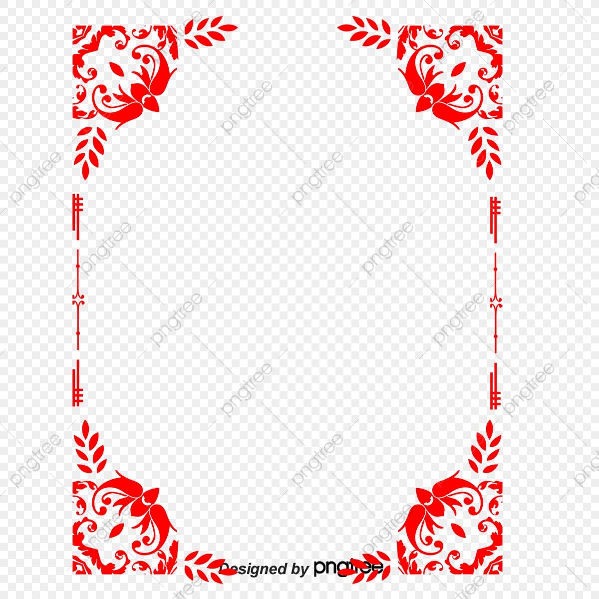 Feliz Ano Novo Contorno Vermelho Lanterna, Moldura Vermelha.