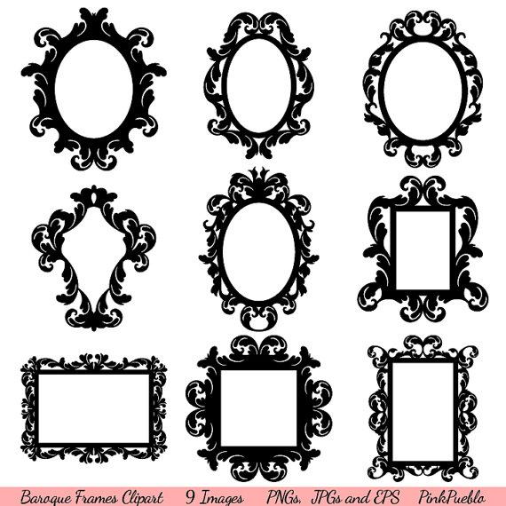 Baroque Frames Clipart Clip Art, Vintage Frames Borders.