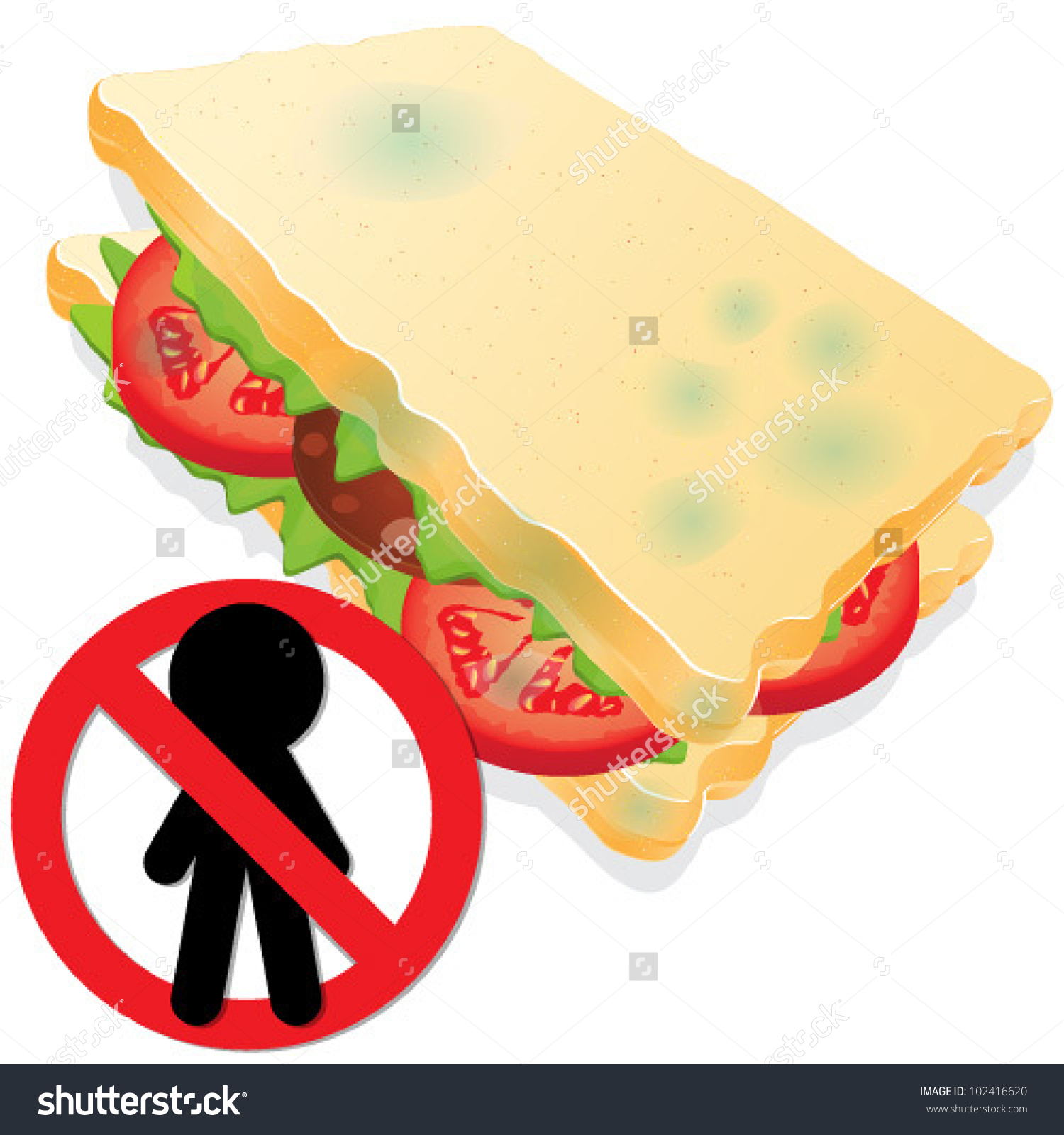 The Moldy Sandwich. Stop People Stock Vector Illustration.