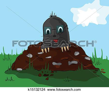 Clipart of Mole on molehill k15132124.