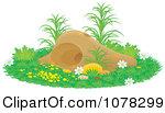 Cartoon of a Cute Mole Waving from a Hole.