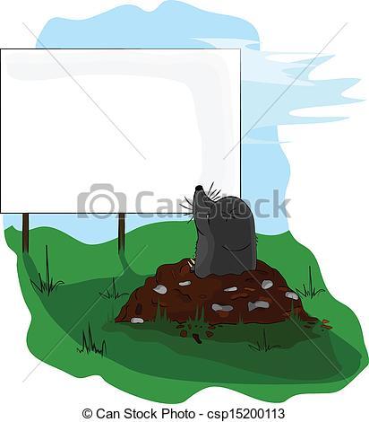 Vector Clip Art of Mole on molehill looking at a billboard.