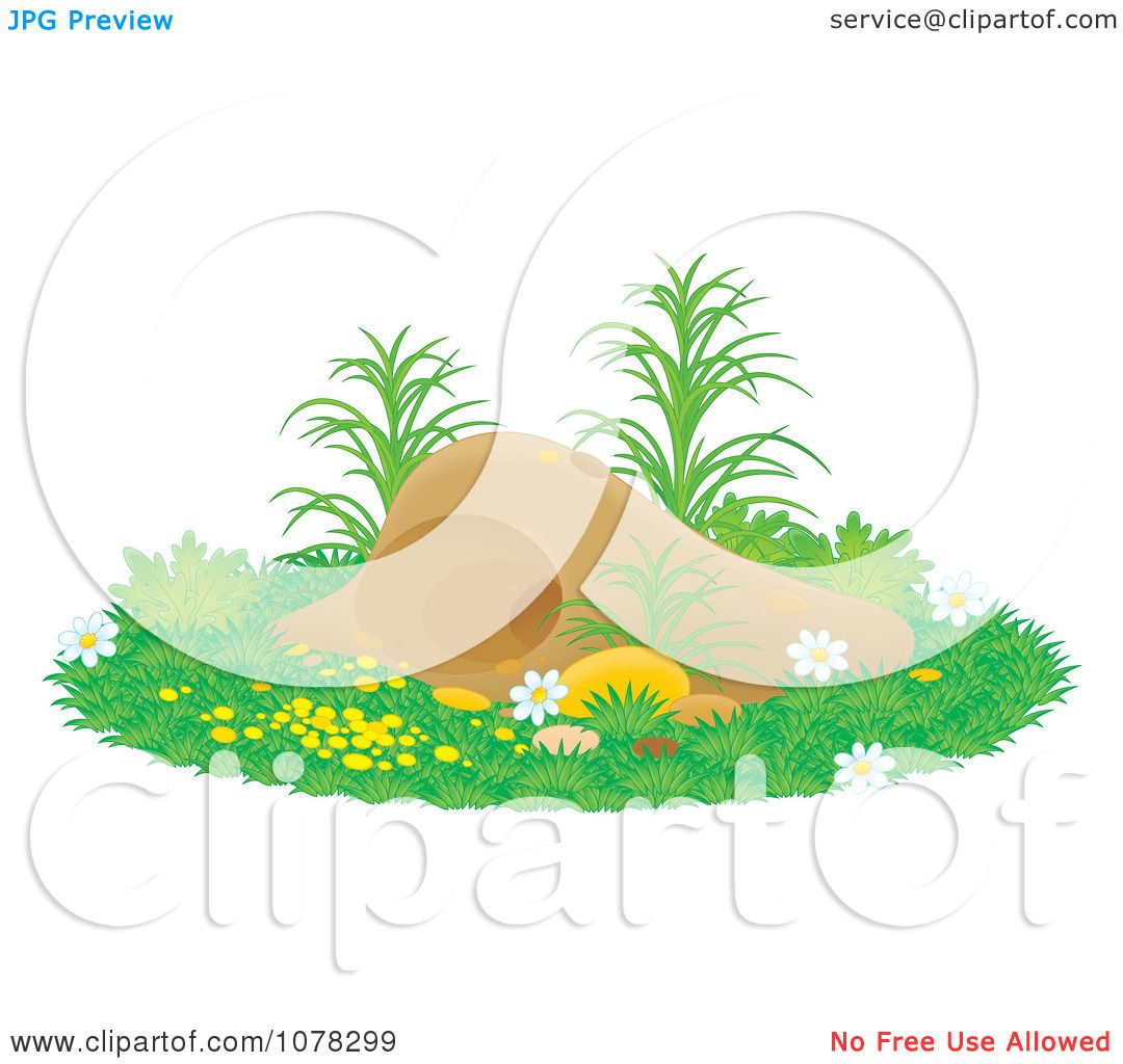 Clipart Gopher Or Mole Hill With Flowers And Grass.