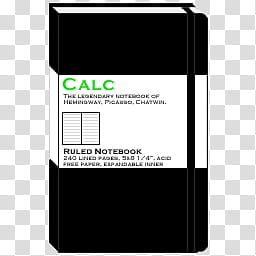 Moleskine Dock Icons, MS_OF_calc transparent background PNG.
