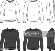 Front, Back and Side Views of Blank Sweatshirt Stock Vector.