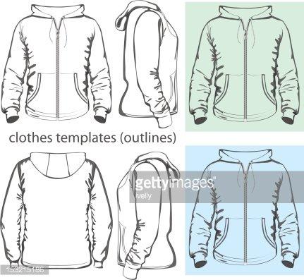 Men\'s hooded sweatshirt with zipper Clipart Image.