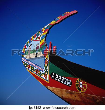 Stock Photo of 03 Portugal Aveiro Lagoon Prow Of A Moliceiro.