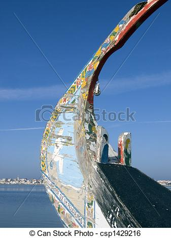 Stock Image of Typical moliceiro boat from Portugal.