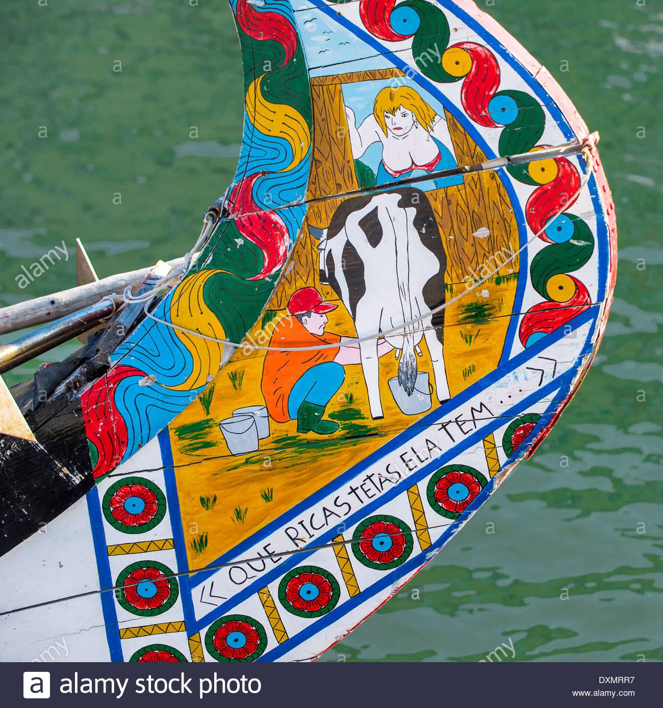 Colorful Hand Painted Prow Of A Gondola Like Moliceiro, Aveiro.