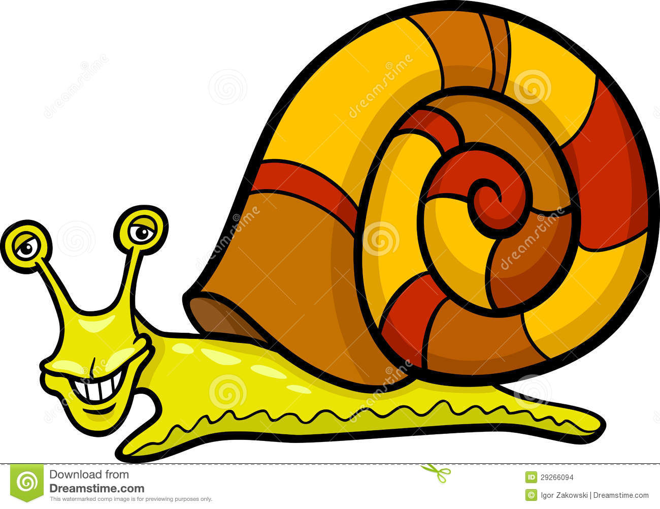 Snail Mollusk Cartoon Illustration Stock Images.