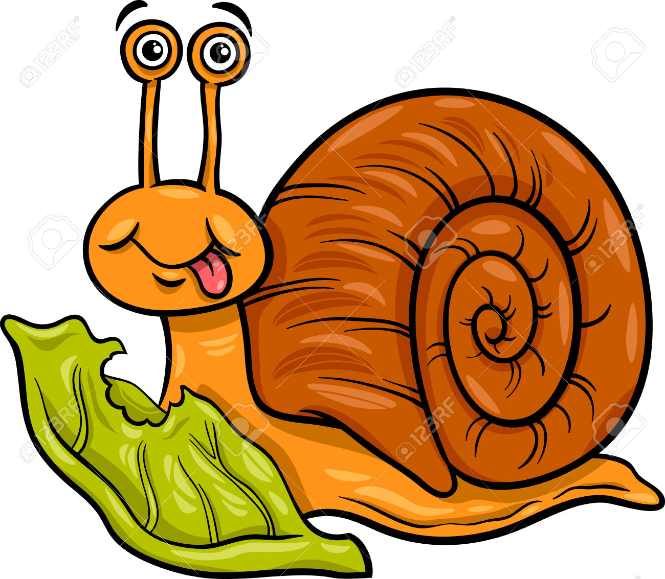 Cartoon Illustration Of Funny Snail Mollusk With Lettuce Leaf.