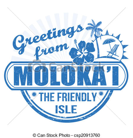 Clip Art Vector of Greetings from Molokai stamp.