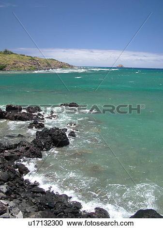 Stock Photography of Molokai, HI, Hawaii, East Molokai, Rock Point.