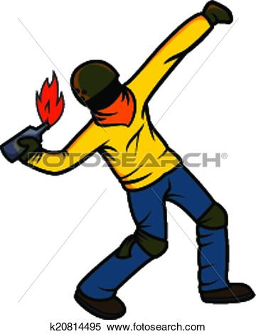 Clipart of Rebel Throwing Molotov Cocktail k20814495.