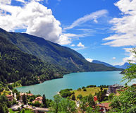 Lake Molveno, Elected Most Beautiful Lake In Italy. Stock Photo.