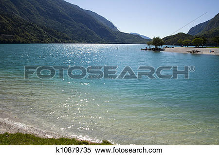 Stock Image of View of Molveno lake k10879735.