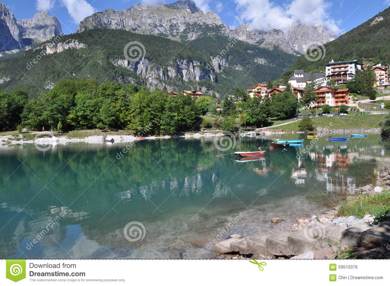 Molveno, Italy Stock Photo.