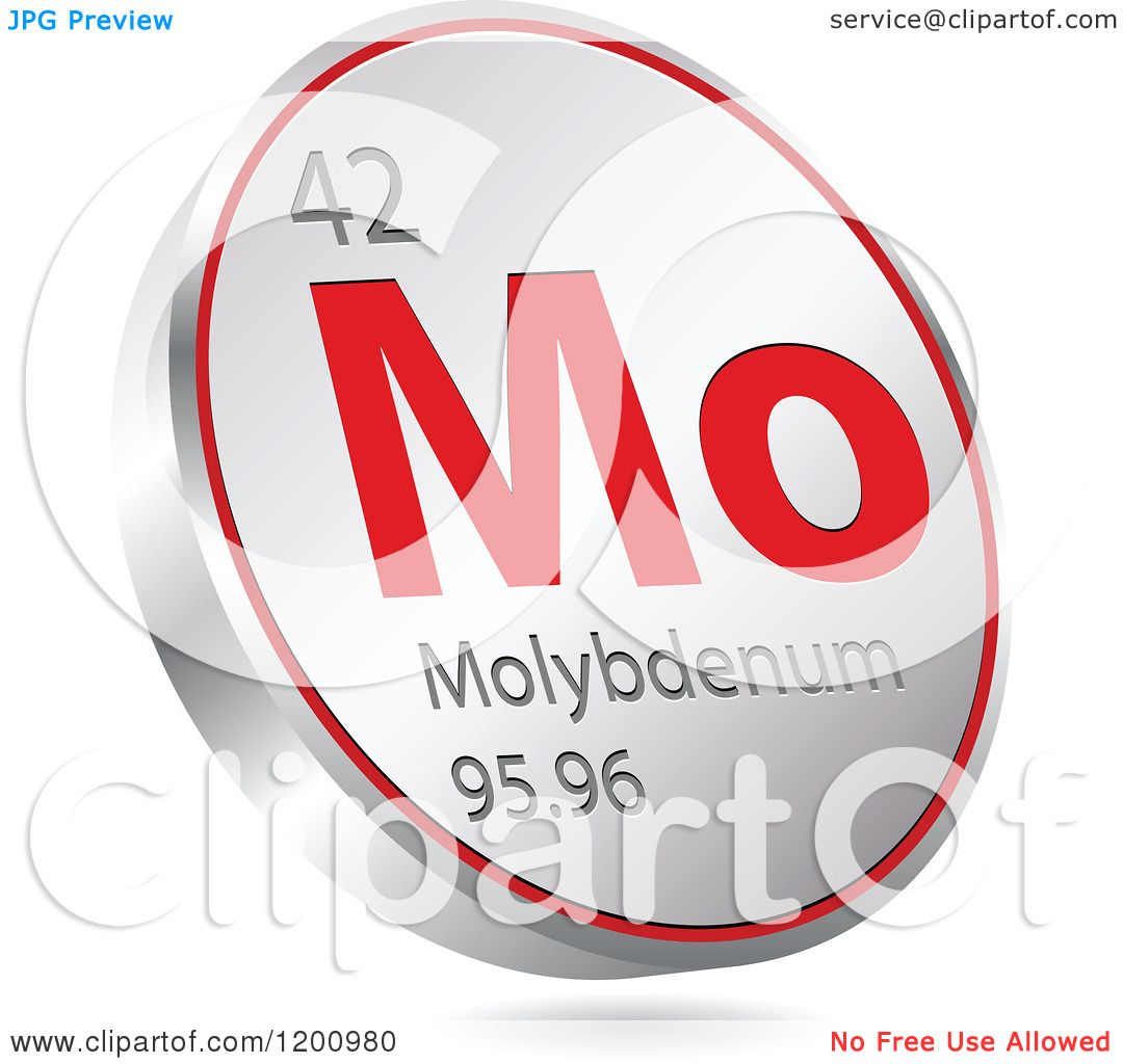Clipart of a 3d Floating Round Red and Silver Molybdenum Chemical.