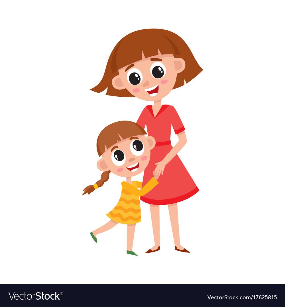 Flat cartoon mother and daughter hugging.