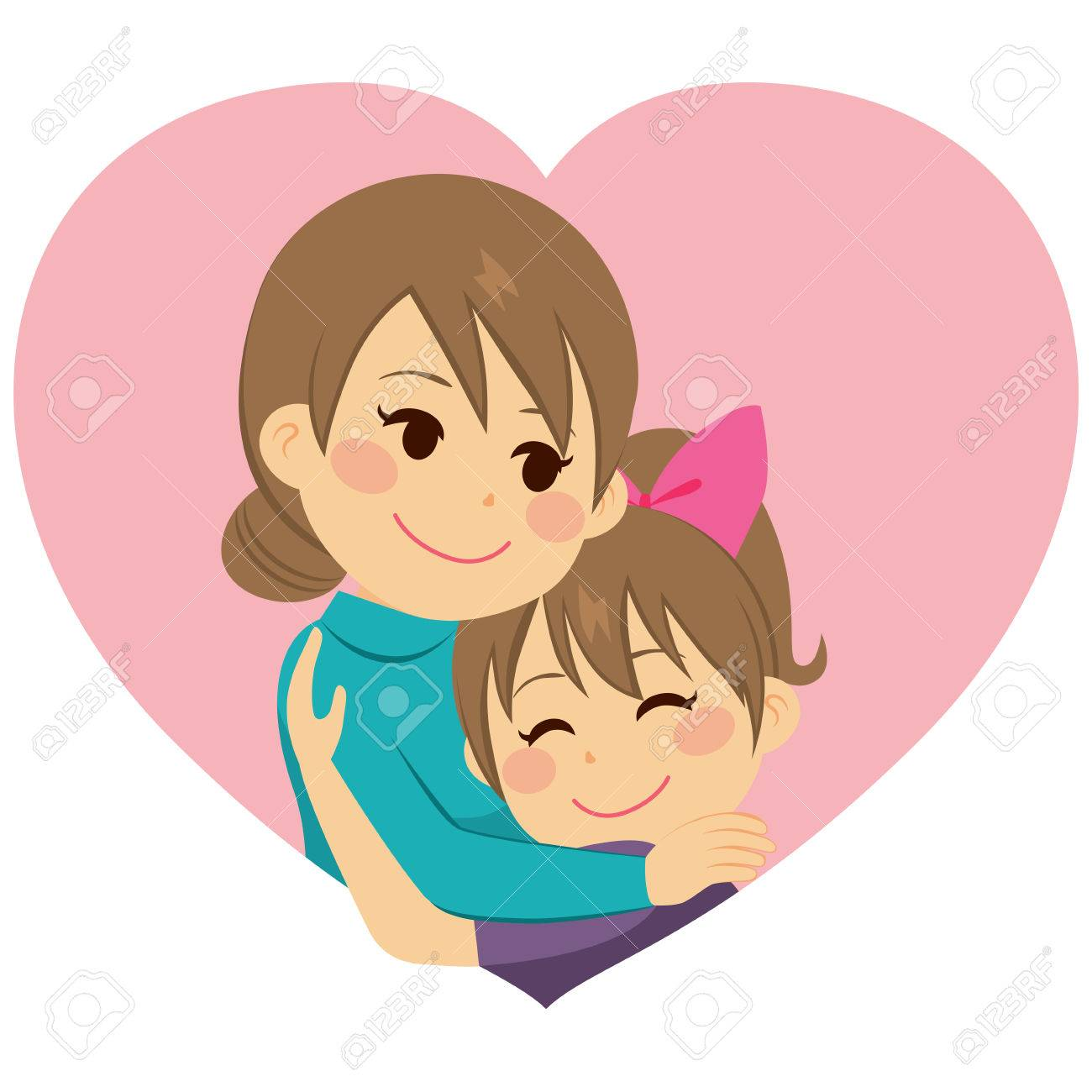Cute little girl daughter hugging mom celebrating Mother's Day.