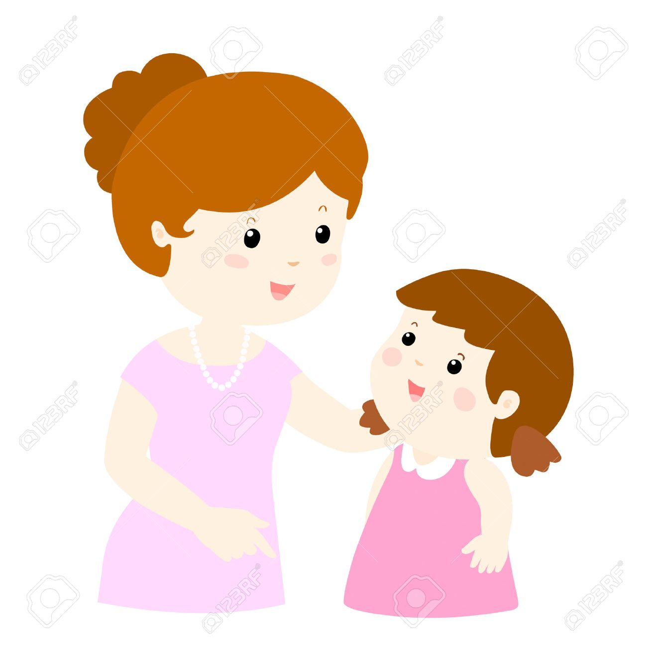 mom talk to her daughter gently vector illustration.
