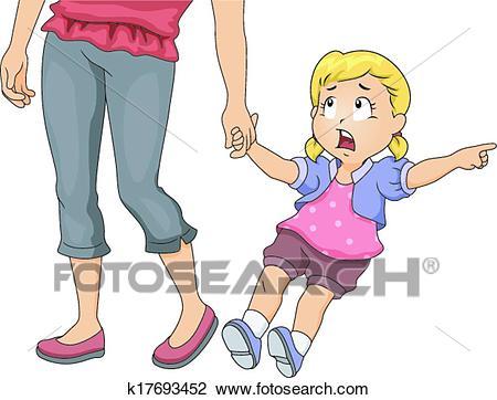 Mom Pulling Girl Clipart.