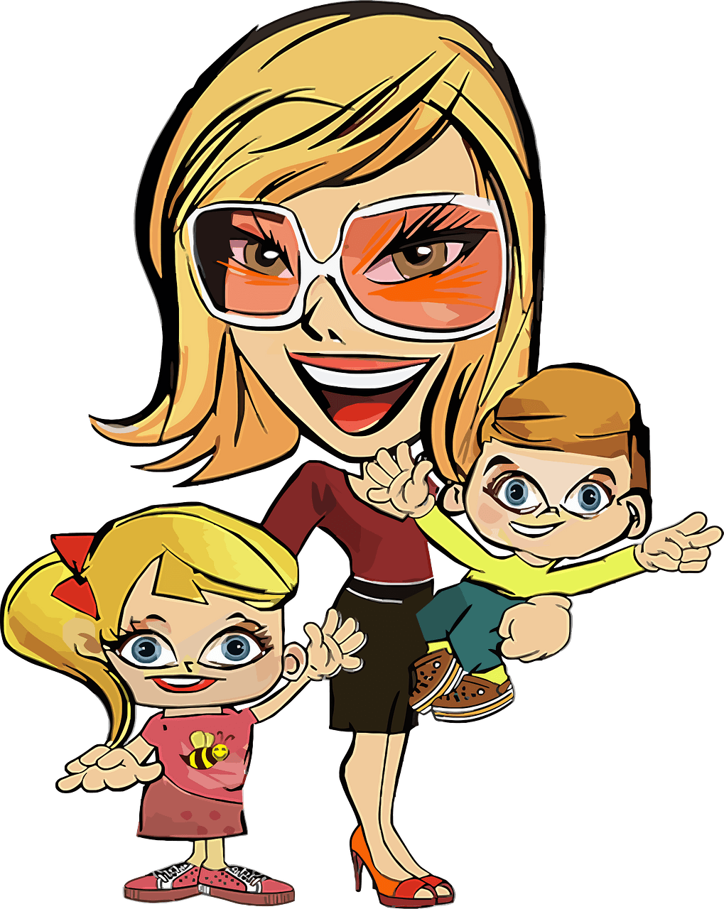 Mom and kids clipart. Free download..