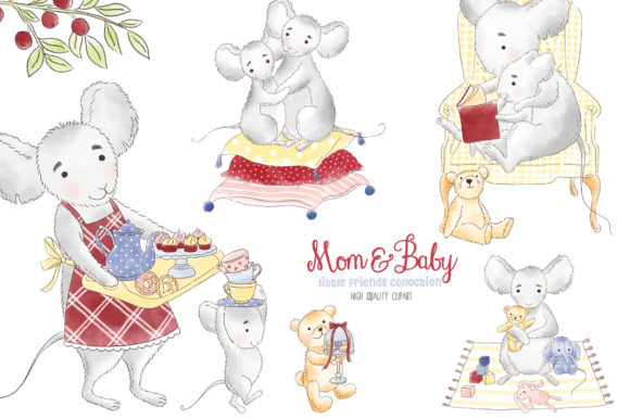 Mother and Me Mouse Woodland Clipart.