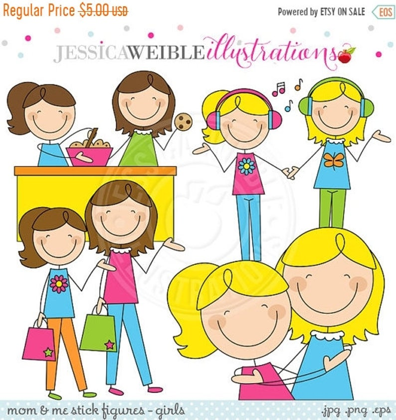 SALE Mom and Me Stick Figures Girls V1 Cute Digital Clipart for  Invitations, Card Design, Scrapbooking, and Web Design, Mothers Day Clipart.