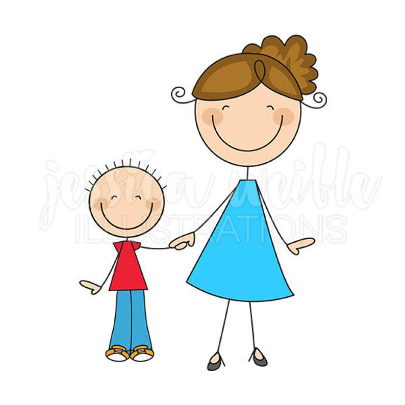 Mom and Son Stick Figures Cute Digital Clipart.