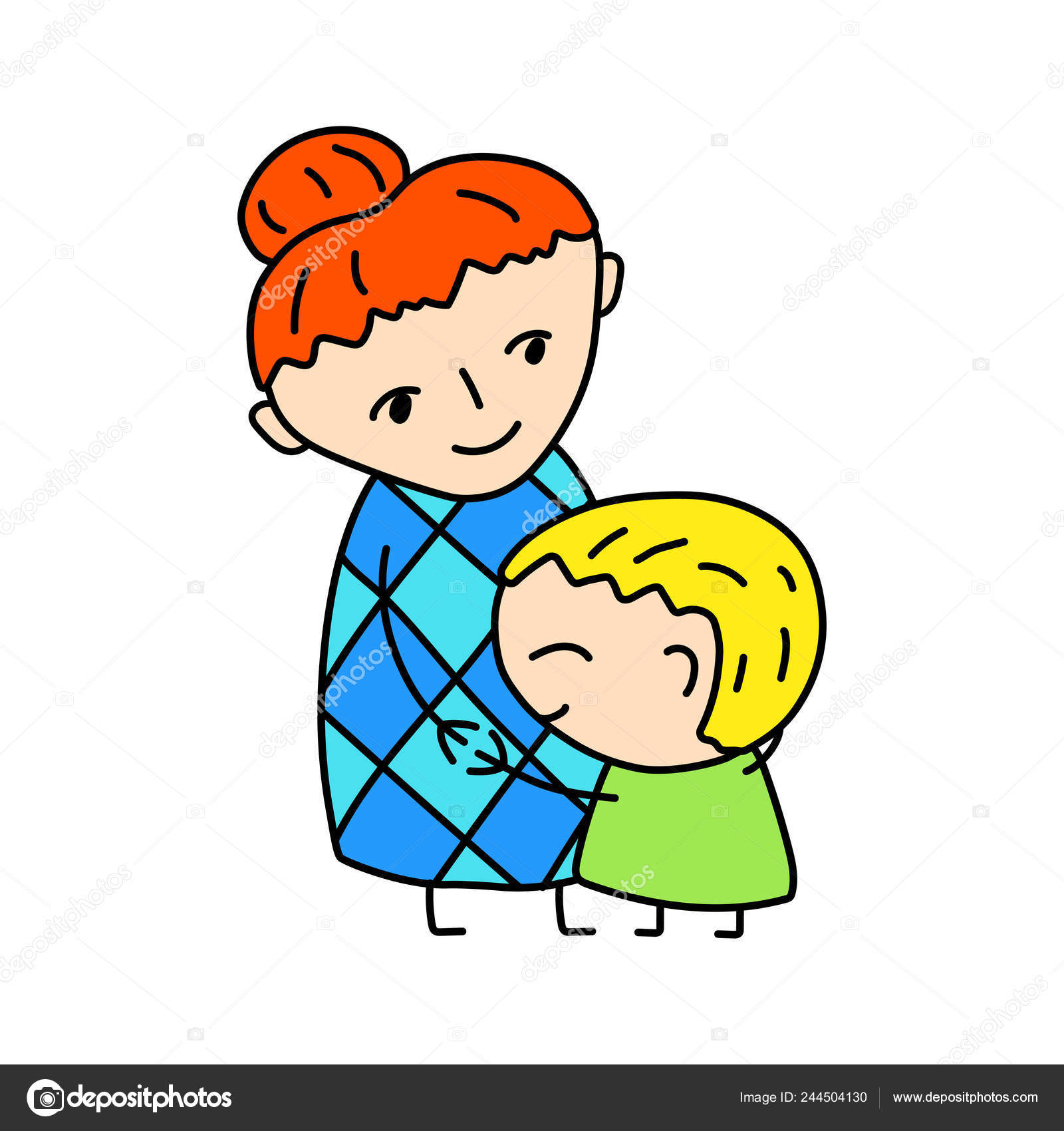 Happy Mother Son Simple Vector Illustration White Background.