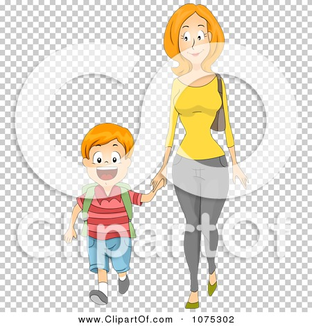 Clipart Caring Mother Holding Hands And Walking Her Son To School.