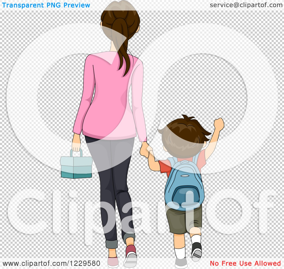 Clipart of a Rear View of a Mother Walking Her Son to School.
