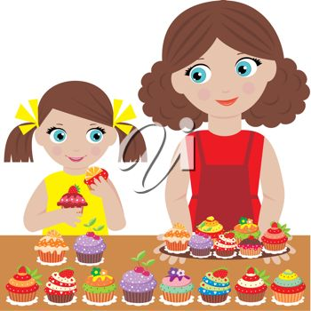Mom and Daughter Baking Clipart.