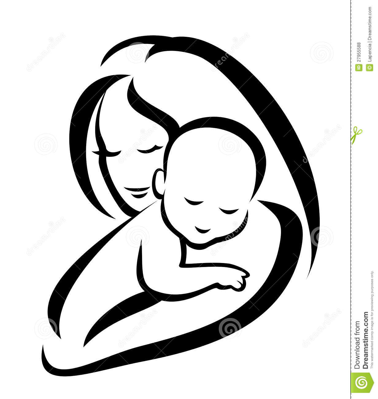 Mother and child clipart #9