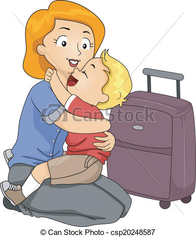 Boy Giving Mom A Hug Goodbye Clipart.