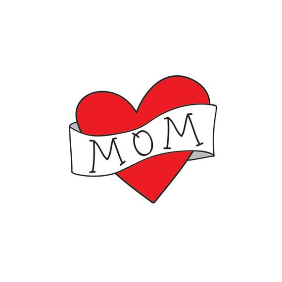 Babys first mothers day gift, mom heart tattoo for kids.