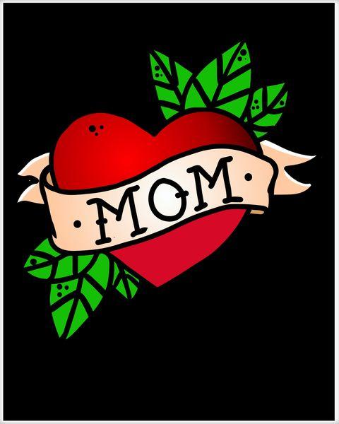 Mom Heart Tattoo Love Poster.