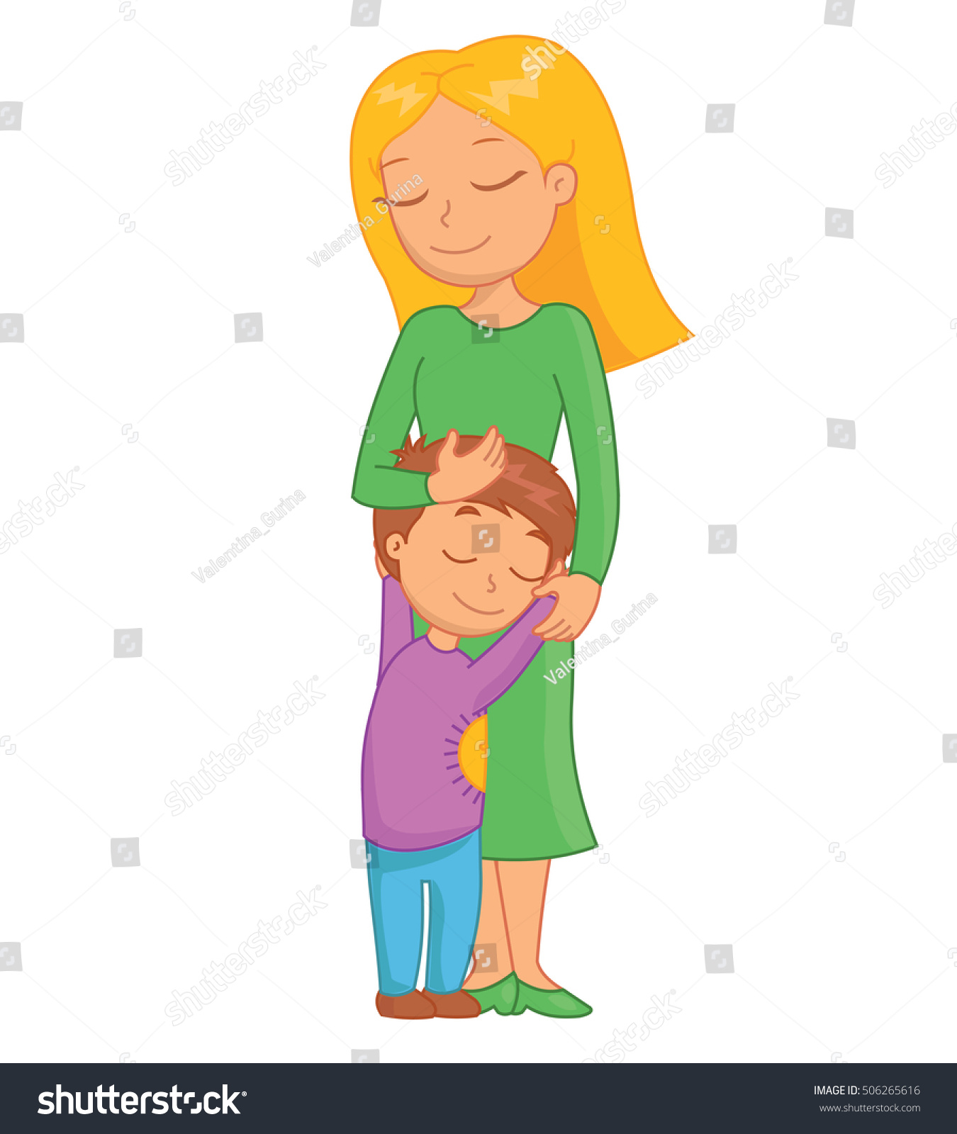 Mother And Child. Mom And Child Are Hugging , Mother Day.