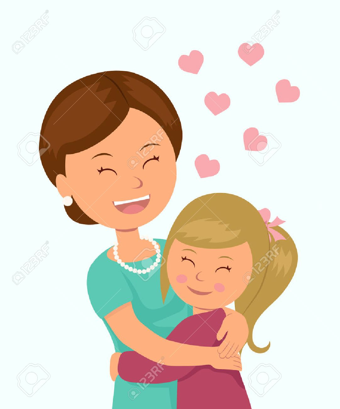 Daughter hugging her mother. Isolated characters in the embrace...