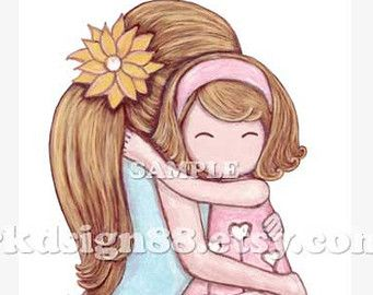 Mom And Daughter Hugging Clipart (52+).