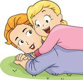 Daughter Hugging Mom Clipart.