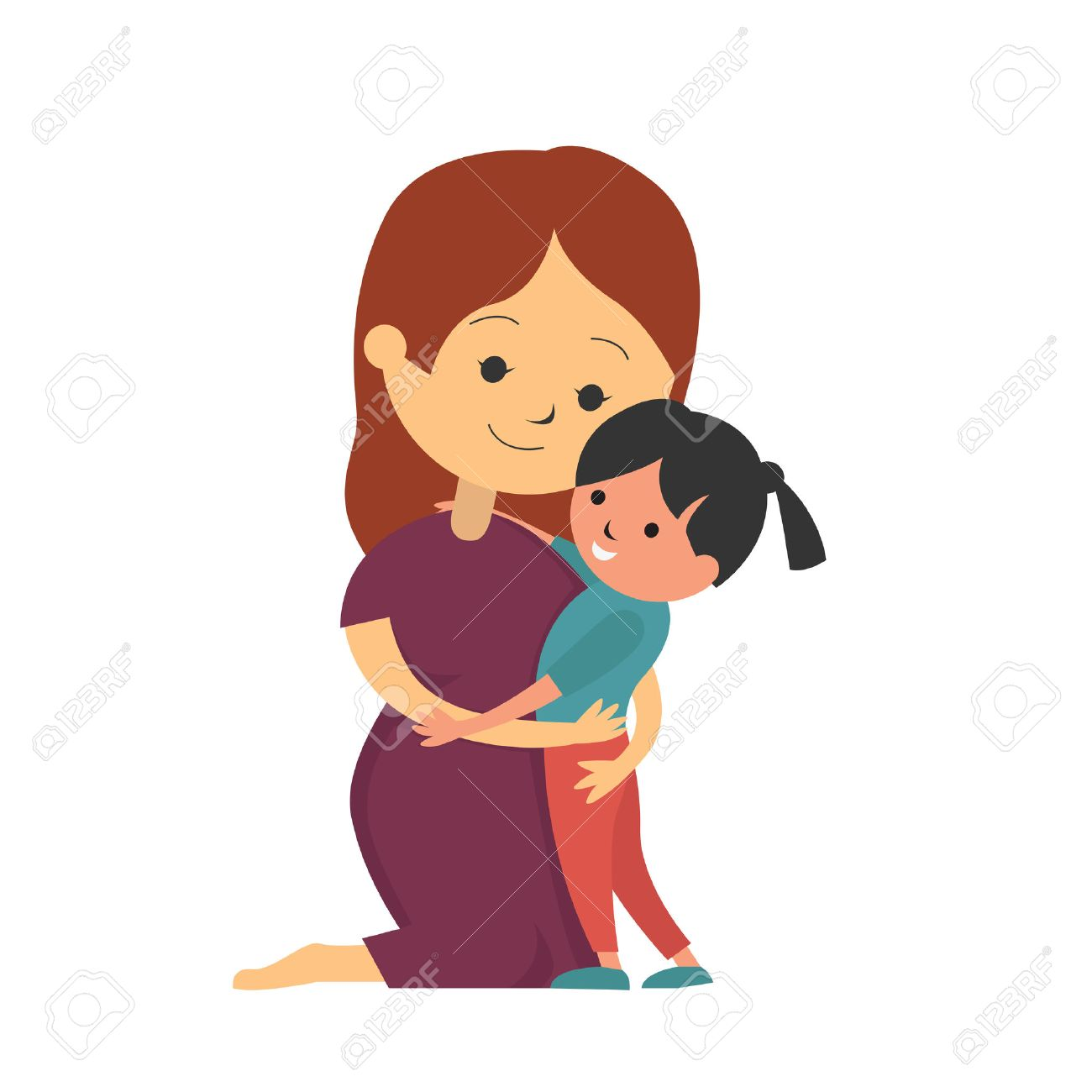 Mother kneel down and hugging her daughter, vector illustration...