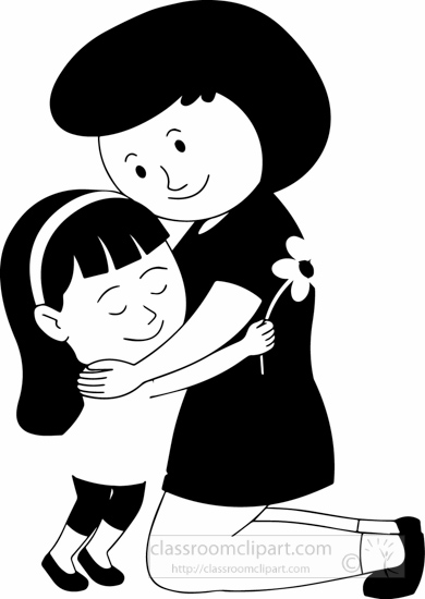 Mom Hugging Girl Clipart Outline 20 Free Cliparts
