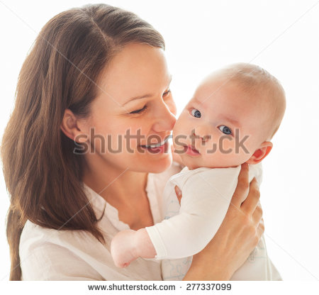 Mother Baby Kissing Hugging Happy Family Stock Photo 135473438.