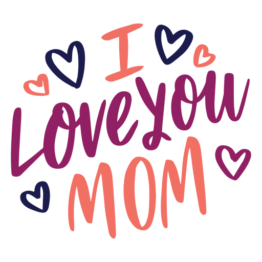 I love you mom english heart text sticker.