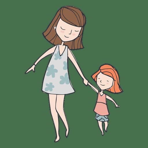 Mom and dauther walking cartoon.