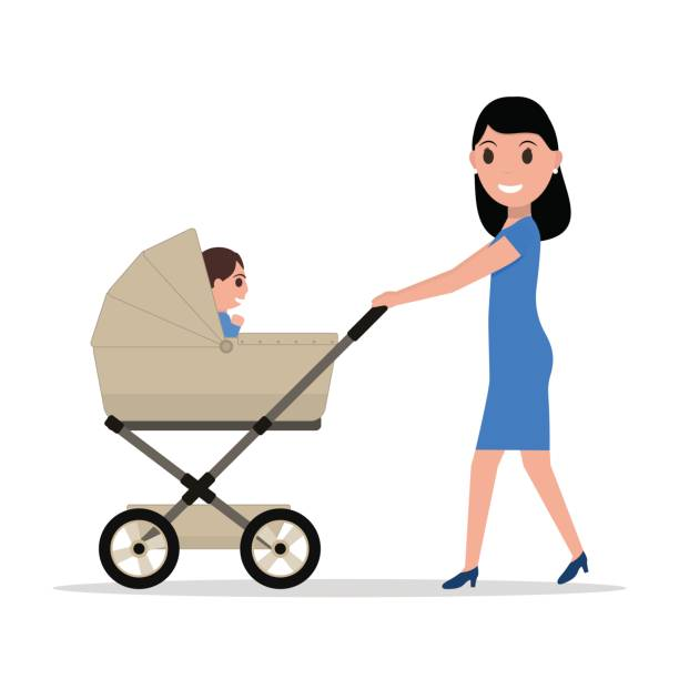 Best Mom Pushing Stroller Illustrations, Royalty.