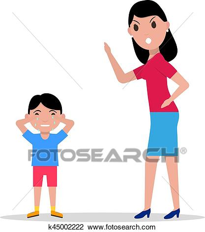 Vector cartoon angry mother scolding her child Clipart.
